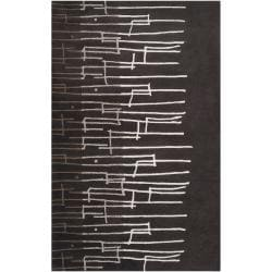 Noah Packard Hand-tufted Black/Ivory Contemporary Ogden New Zealand Wool Abstract Rug (5' x 8')
