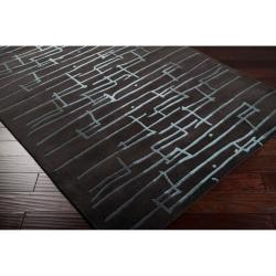 Noah Packard Hand-tufted Black/Blue Contemporary Nibley New Zealand Wool Abstract Rug (8' x 11')