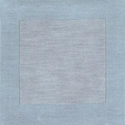Hand-crafted Light Blue Tone-On-Tone Bordered Arlington Wool Rug (12' x 15')