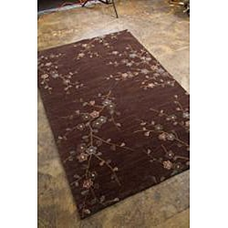 Hand-Tufted Brown Polyester Multicolor Rug (7'6 x 9'6)