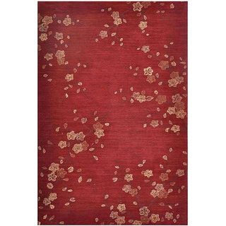 Hand-tufted Red Multicolor Rug (2' x 3')