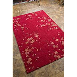 Hand-tufted Red Multicolor Rug (3'6 x 5'6)