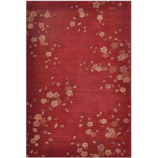Hand-tufted Red Multicolor Rug (5' x 7'6)