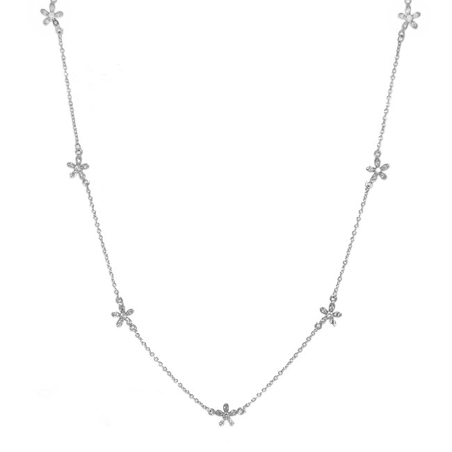 Sterling Silver Clear Cubic Zirconia Flower Station Necklace