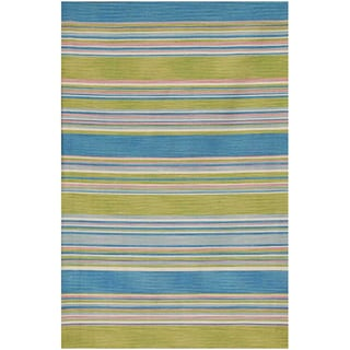 Flat-woven Blue Wool Area Rug (9' x 12')