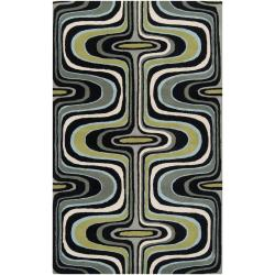 Tepper Jackson Hand-Tufted Contemporary Multicolored Swirl Dreamscape Wool Abstract Area Rug (8' x 1