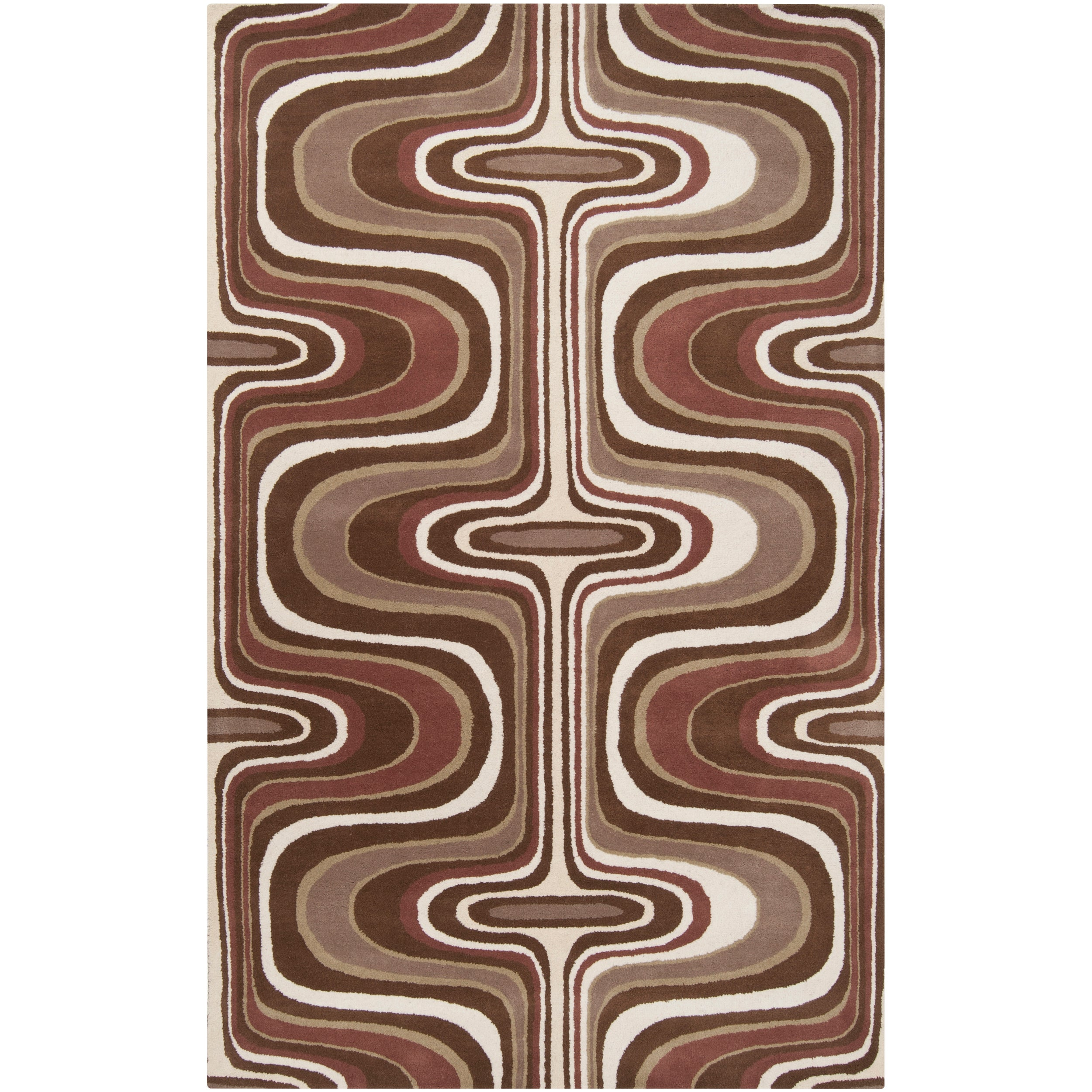 Tepper Jackson Hand-tufted Contemporary Brown Colored Swirl Dreamscape Wool Abstract Rug (8' x 11')
