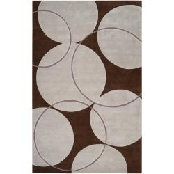 Hand-tufted Contemporary Circles Brown/White Goa New Zealand Wool Geometric Rug (8' x 11')