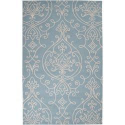 Hand-hooked Lindon Indoor/Outdoor Damask Print Rug (5' x 8')