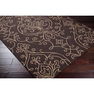 Hand-hooked Loa Indoor/Outdoor Damask Print Rug (5' x 8')