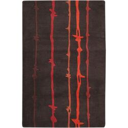 Noah Packard Hand-tufted Brown/Red Contemporary Milford New Zealand Wool Abstract Rug (5' x 8')