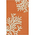 Hand Hooked Orange Area Rug (5'x7' 6)