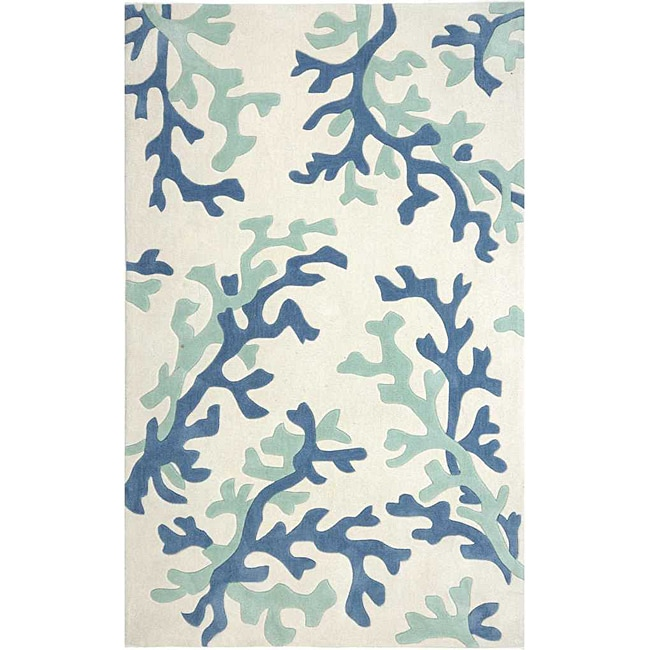 Hand-tufted Blue Abstract Rug (2' x 3')