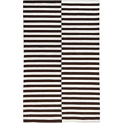Hand-hooked Brown Area Rug (2' x 3')