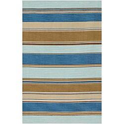 Flat-woven Blue Wool Rug (4' x 6')