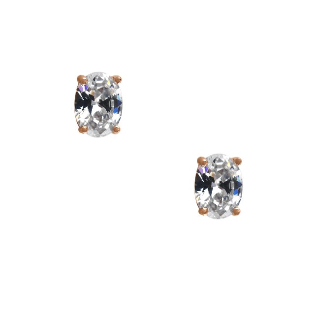 14k Rose Gold Plated Sterling Silver Clear Cubic Zirconia Oval Stud Earrings