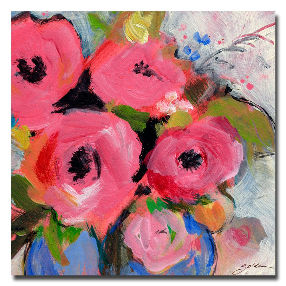 """Sheila Golden 'Bouquet in Pink' Large Gallery-Wrapped Canvas Art (35"""" x 35"""")"""