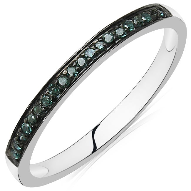 Malaika Sterling Silver 1/10ct TDW Blue Diamond Band