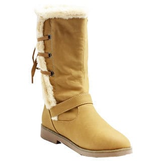 Russel Matos Women's Lace-up Camel Mid-Calf Boots