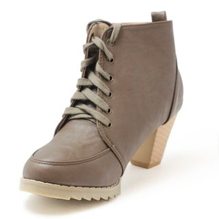 Russel Matos Women's Brown High Heel Combat Ankle Boots