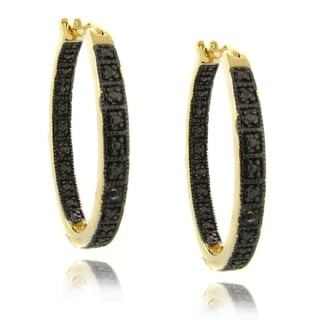 Finesque 14k Gold Overlay Black Diamond Accent Hoop Earrings
