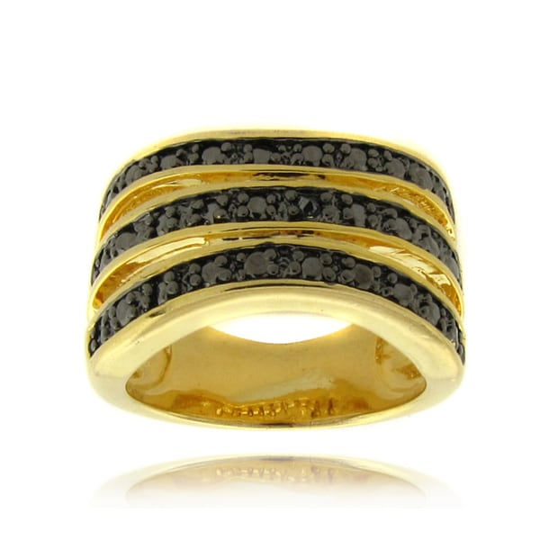 Finesque 14k Gold Overlay Black Diamond Accent 3-band Stack Ring