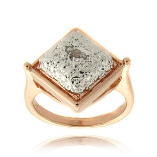 Finesque Rose Gold Overlay Diamond Accent Square Ring