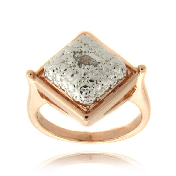 Finesque Rose 14k Gold Overlay Diamond Accent Square Ring
