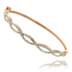 Finesque Rose Gold Overlay Diamond Accent Infinity Bangle Bracelet