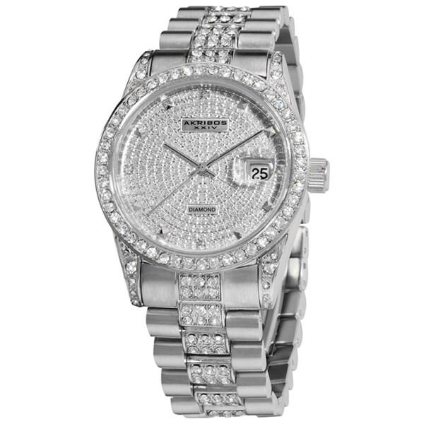 Akribos XXIV Men's Stainless Steel Diamond Accent Quartz Bracelet Watch