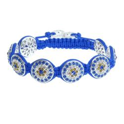 Eternally Haute Silver Overlay Crystal Royal Blue Macrame Bracelet