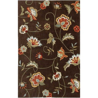 Hand-tufted Brown Floral Area Rug (5' x 7'6)