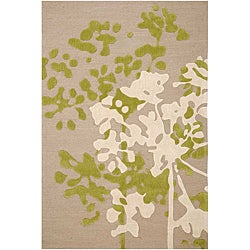 Hand-tufted Beige/ Ivory Floral Area Rug (7'6 x 9'6)