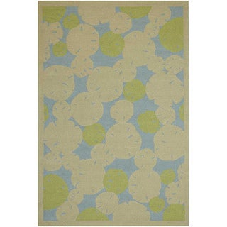 Hand-hooked Abstract Green Outdoor Rug (7'6 x 9'6)