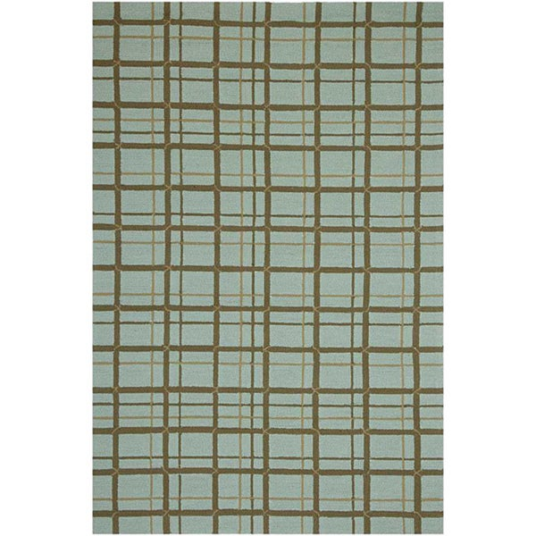 Hand-hooked Geometric Blue Outdoor Rug (2' x 3')