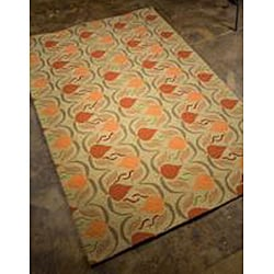Hand-hooked Green Area Rug (3' 6 x 5' 6)