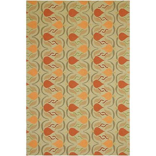 Hand-hooked Green Area Rug (5' x 7' 6)