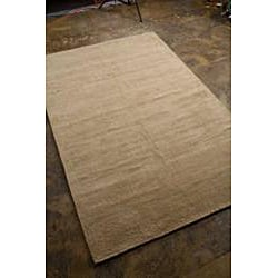 Handwoven Contemporary Beige Wool Area Rug (5' x 8')