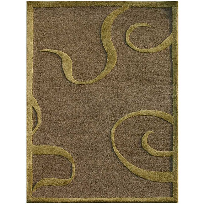 Hand-Tufted Brown/ Green Wool and Art Silk Area Rug (3'6 x 5'6)