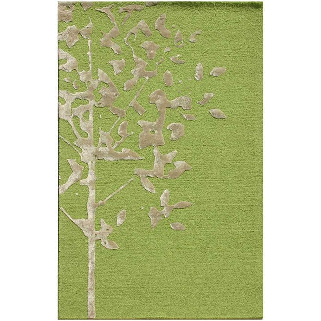 Hand-Tufted Green/ Ivory Wool and Art Silk Area Rug (5' x 8')