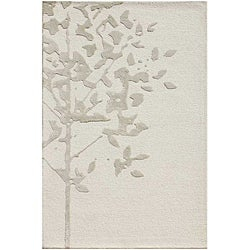 Hand-Tufted White/Grey Wool and Art Silk Area Rug (3'6 X 5'6)