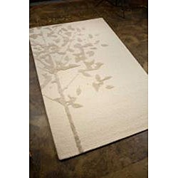 Hand-Tufted White/Grey Wool and Art Silk Area Rug (5' X 8')