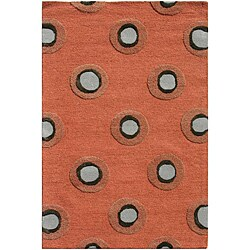 Hand-Tufted Red/Grey Wool and Art Silk Area Rug (3'6 X 5'6)