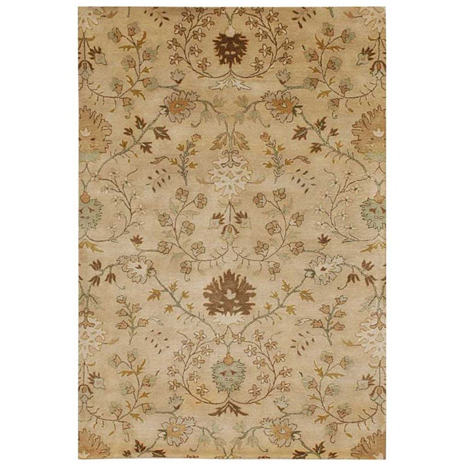 Hand-Tufted Beige/ Brown Floral Wool Area Rug (8' x 11')