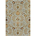 Hand-Tufted Blue/ Brown Floral Wool Area Rug (2' x 3')