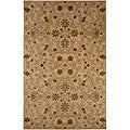Hand-Tufted Tan/ Green Wool Area Rug (3' 6 x 5' 6)