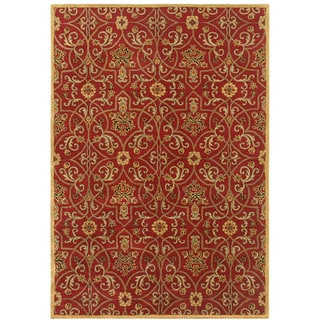 Traditional Red/ Gold Hand Tufted Wool Area Rug (9' 6
