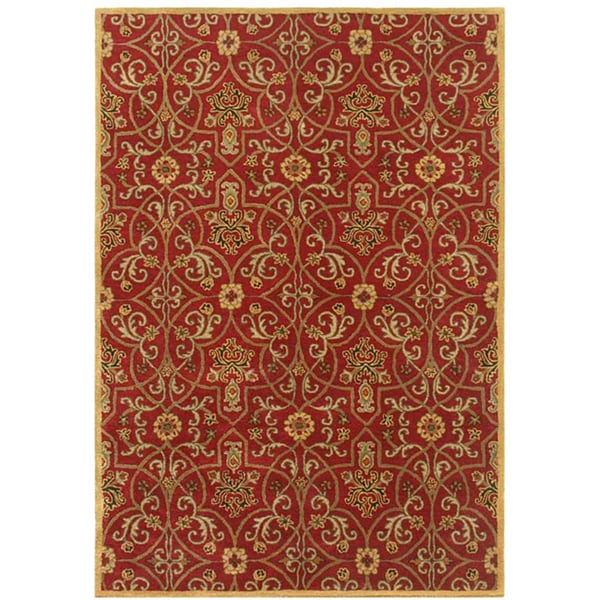 "Traditional Red/ Gold Hand Tufted Wool Area Rug (9' 6"" X 13' 6"")"
