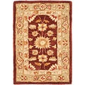 Hand-made Farahan Red/ Sage Hand-spun Wool Rug (2' x 3')