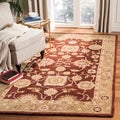 Hand-made Farahan Red/ Sage Hand-spun Wool Rug (3' x 5')